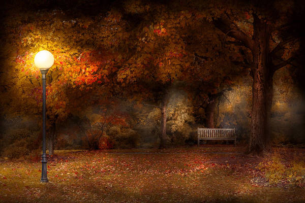 Photograph - Autumn - A Park Bench by Mike Savad