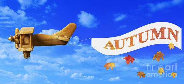 Vintage Airplane Photograph - Autumn Advertising Banner by Amanda Elwell