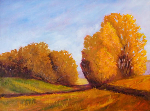 Prairie Grass Painting - Autumn Afternoon by Nancy Merkle