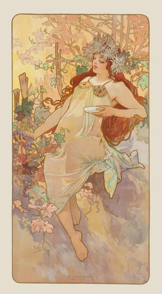 Mucha Painting - Autumn by Alphonse Mucha