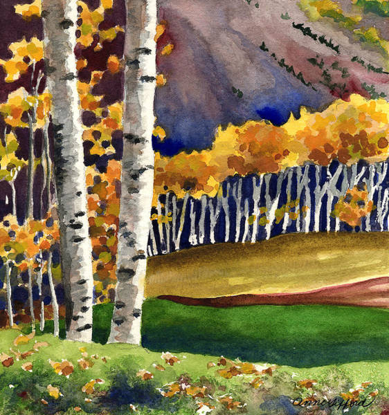 Wall Art - Painting - Autumn Aspens by Anne Gifford
