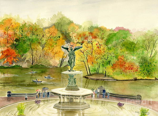 Central New York Painting - Autumn At Central Park Ny by Melly Terpening