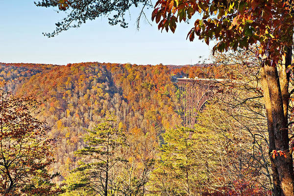 Photograph - Autumn At The New River Gorge Single-span Arch Bridge by Simply  Photos