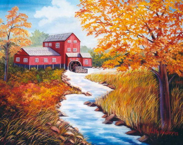 Wall Art - Painting - Autumn At The Red Grist Mill  by Ruth  Housley