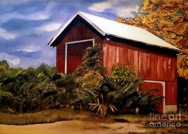 Painting - Autumn Barn - Original Painting - Ohio by Jan Dappen