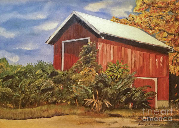 Painting - Autumn Barn - Signed By Artist - Ohio Barn by Jan Dappen