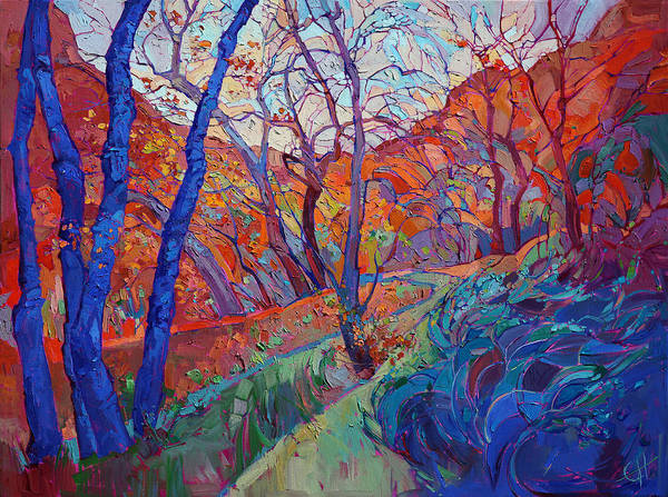 Zion Painting - Autumn Blues by Erin Hanson