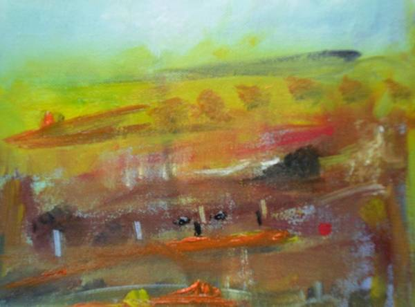 Donegal Painting - Autumn Bog II by Mary Feeney