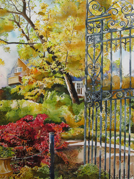 Painting - Autumn By The Gate by Alfred Ng