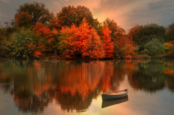 Red Robin Photograph - Autumn Canoe by Robin-Lee Vieira