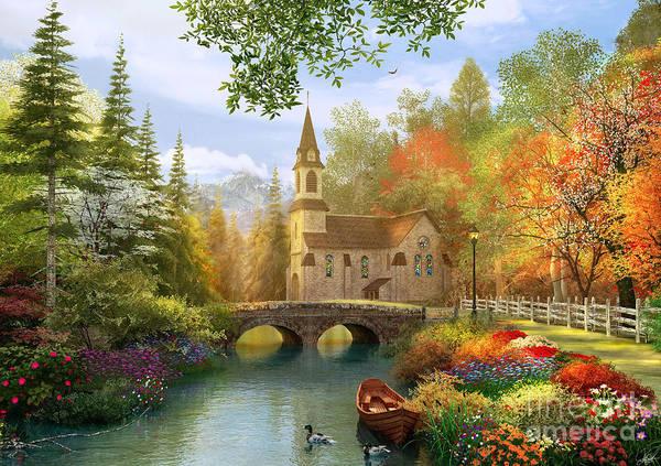 Church Digital Art - Autumn Church by MGL Meiklejohn Graphics Licensing