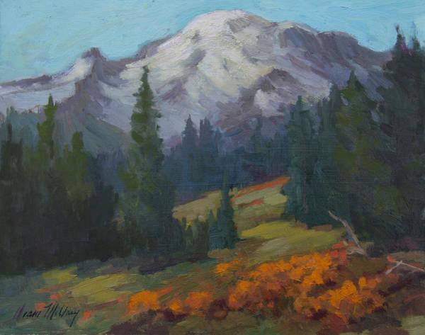 Mount Rainier Painting - Autumn Color At Mount Rainier by Diane McClary