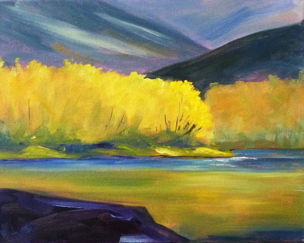 Mountain Lake Painting - Autumn Color by Nancy Merkle