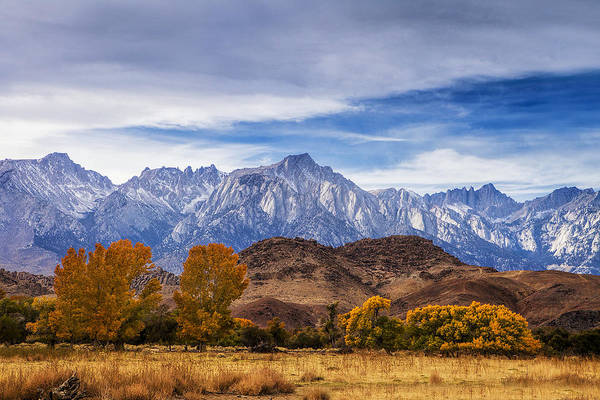Sierra Nevada Mountain Range Photograph - Autumn Colors And Mount Whitney by Andrew Soundarajan
