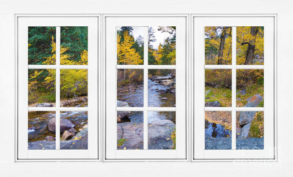Unframed Wall Art - Photograph - Autumn Creek White Picture Window Frame View by James BO Insogna