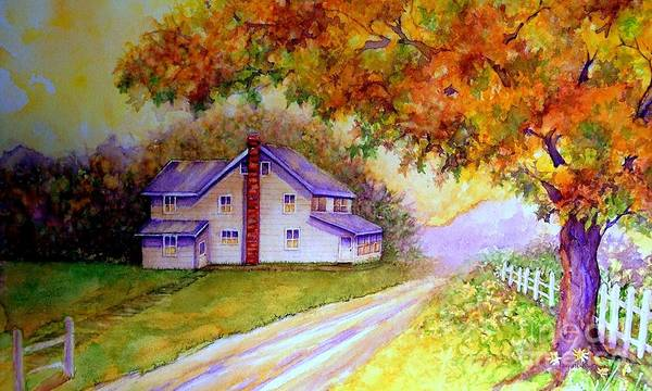 White Picket Fence Painting - Autumn Days Down The Lane by Janine Riley