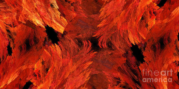 Digital Art - Autumn Fire Abstract Pano 1 by Andee Design