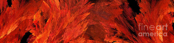 Digital Art - Autumn Fire Abstract Pano 2 by Andee Design