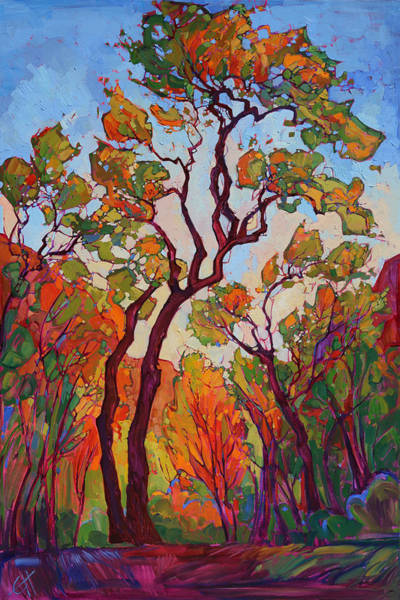 Zion Painting - Autumn Flame by Erin Hanson