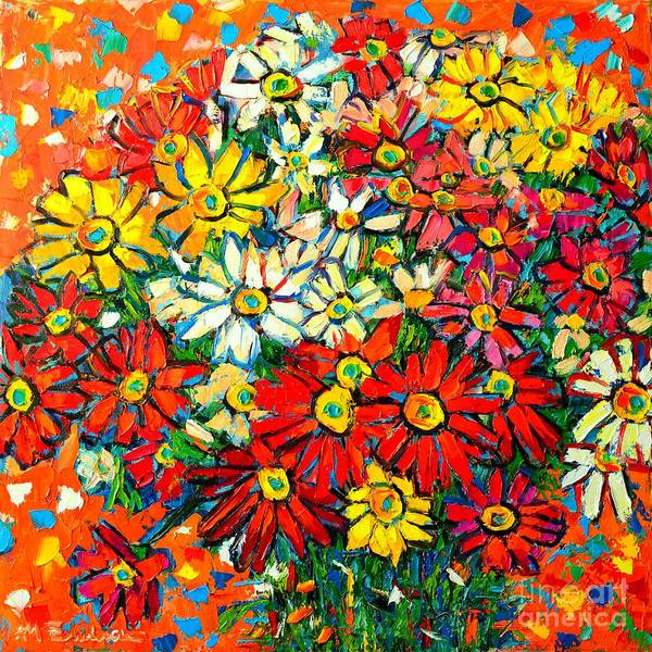 Blue Cornflower Painting - Autumn Flowers Colorful Daisies  by Ana Maria Edulescu