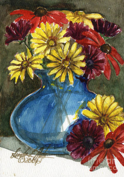 Painting - Autumn Flowers by Linda L Martin