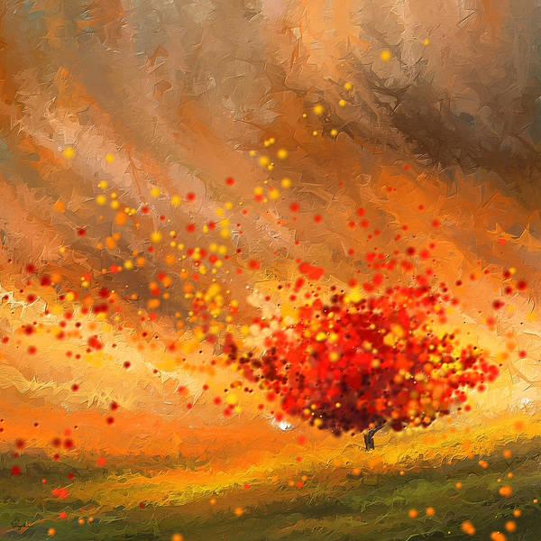 Lone Tree Painting - Autumn-four Seasons- Four Seasons Art by Lourry Legarde