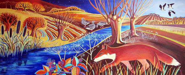 Lapwing Painting - Autumn Fox by Jane Tomlinson