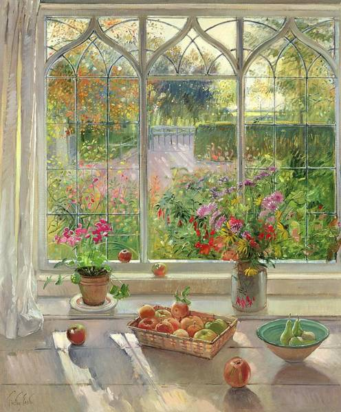 Windowsill Photograph - Autumn Fruit And Flowers, 2001 Oil On Canvas by Timothy Easton