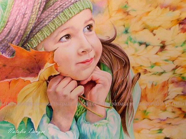 Maple Drawing - Autumn Girl by Natasha Denger