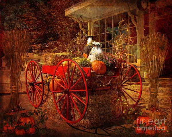 Wagon Digital Art - Autumn Harvest At Brewster General by Lianne Schneider