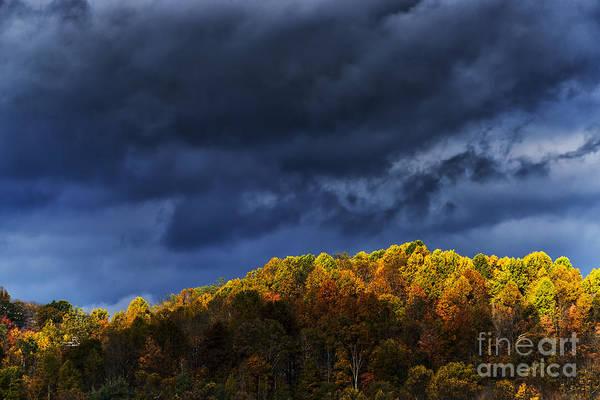 Photograph - Autumn Hillside Rain Clouds by Thomas R Fletcher