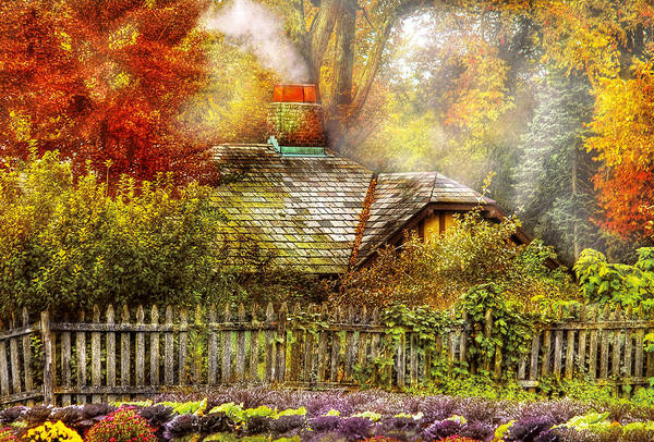 Photograph - Autumn - House - On The Way To Grandma's House by Mike Savad