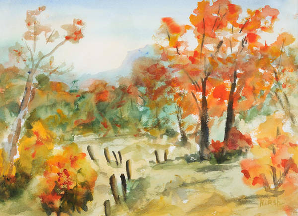Fencepost Painting - Autumn Idyll by Cathy Hirsh