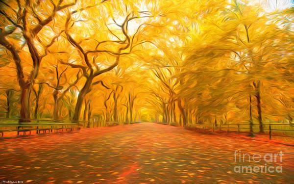Painterly Painting - Autumn In Central Park by Veikko Suikkanen
