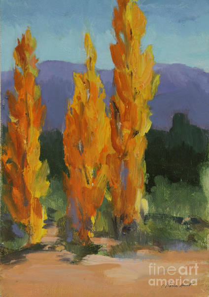 Desert Scene Painting - Walking The Wash In Sante Fe by Maria Hunt