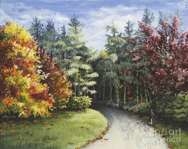 Painting - Autumn In The Arboretum by Mary Palmer
