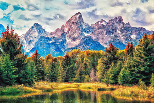 Teton Range Wall Art - Painting - Autumn In The Tetons by Dominic Piperata