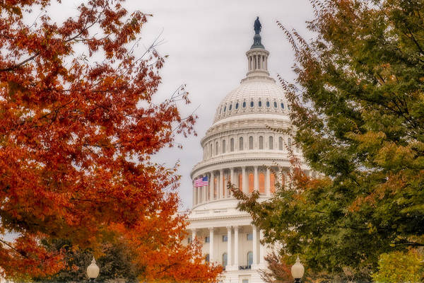 Photograph - Autumn In The Us Capitol by Susan Candelario