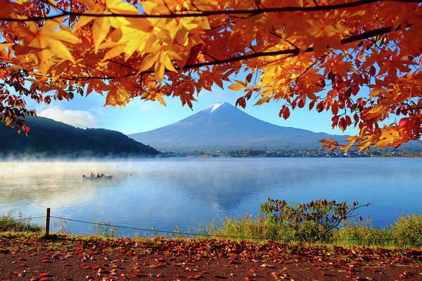 Autumn Kawaguchiko Lake And Mt.fuji Art Print by Dewpixs Photography
