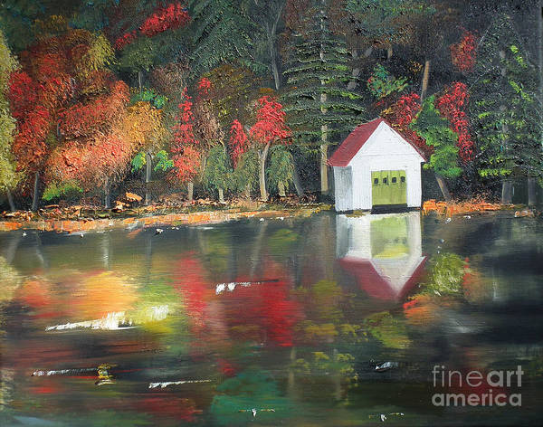 Happy Little Trees Painting - Autumn - Lake - Reflecton by Jan Dappen