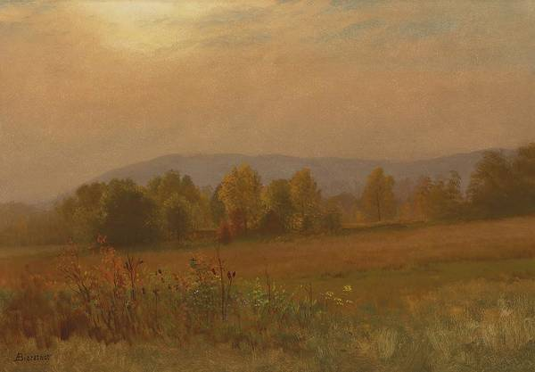 Atmospheric Painting - Autumn Landscape New England by Albert Bierstadt