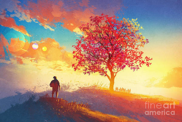 Spring Mountains Digital Art - Autumn Landscape With Alone Tree On by Tithi Luadthong