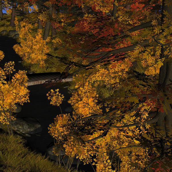 Digital Art - Autumn Leaves And Stream by Judi Suni Hall