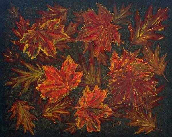 Sycamore Painting - Autumn Leaves Original Acrylic Painting by Georgeta  Blanaru
