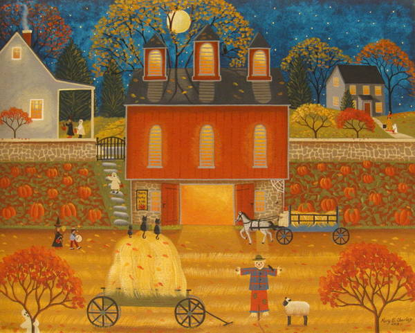 Red Wagon Painting - Fall Memories by Mary Charles