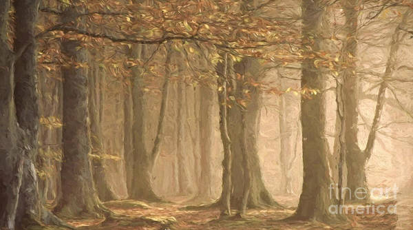Wall Art - Painting - Autumn Morning Fog Oil Painting by Heinz G Mielke