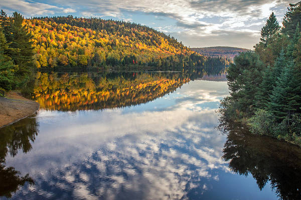 Photograph - Autumn Mountain Reflection In La Mauricie Quebec by Pierre Leclerc Photography