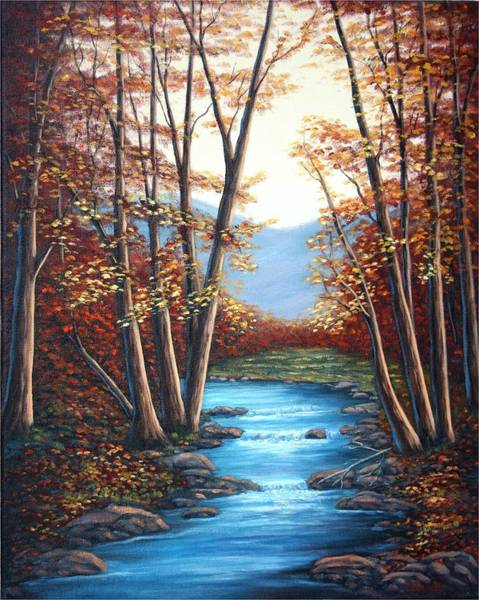 Autumn Mountain Stream  Art Print