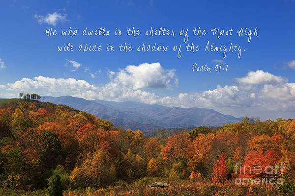 Photograph - Autumn Mountains With Scripture by Jill Lang