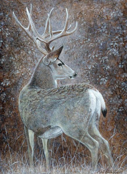 Black Buck Painting - Autumn Muley by Mike Stinnett